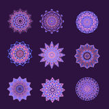 Collection Of Purple & Pink Buttons Or Motifs. Collection of purple and pink design elements can be used for web graphics or designs Stock Images