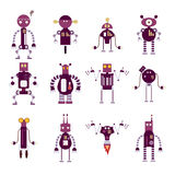 Collection of purple robot icons Stock Images