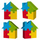 Collection puzzle house with four parts Royalty Free Stock Image