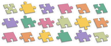 Collection of puzzle parts Royalty Free Stock Photo