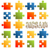 collection puzzle parts colored Royalty Free Stock Photo