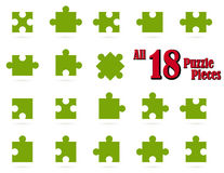 collection puzzle parts colored green Royalty Free Stock Photos