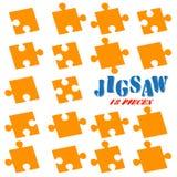 collection puzzle parts colored orange vector illustration