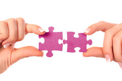 Collection of puzzle pieces compositions stock photo