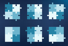Collection of puzzle pieces icons Stock Images