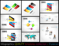 Collection of 9 quality Infographic Templates. Stock Image