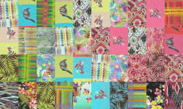 Collection of quilt backgrounds - bright colors Royalty Free Stock Photos