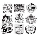 Collection of quote typographical background about cats and dogs. With hand drawn waves and scrolls.Vector silhouette of cat. Template for business card poster royalty free illustration