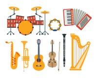Collection réaliste de dessins d'instruments de musique illustration stock