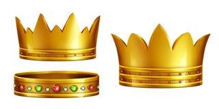 Collection réaliste de vecteurs de couronnes d'or royales illustration de vecteur