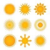Collection réglée d'icône des soleils, illustration d'isolement sur le blanc illustration stock