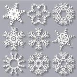 Collection réglée d'icône plate de flocons de neige Photos stock