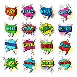 Collection réglée d'icônes d'Art Style Sound Expression Text de bruit de la parole de bulle comique de causerie Photographie stock