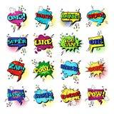 Collection réglée d'icônes d'Art Style Sound Expression Text de bruit de la parole de bulle comique de causerie Illustration de Vecteur