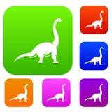 Collection réglée de couleur de dinosaure de Brachiosaurus Photos libres de droits