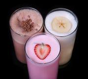 Collection réglée de crème glacée de saveur de chocolat de milkshakes photos libres de droits