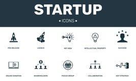 Collection réglée de démarrage d'icônes Inclut les éléments simples tels que la Pré-libération, le lancement, la propriété intell illustration de vecteur
