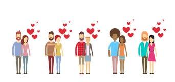Collection réglée de forme de coeur d'étreinte d'amants de Valentine Day Holiday Silhouette Couple illustration stock