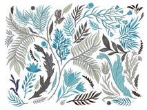 Collection réglée de nature abstraite tirée par la main Ornement ethnique, impression florale, tissu de textile, élément botaniqu illustration stock