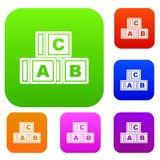 Collection réglée par cubes de couleur d'ABC Photo libre de droits
