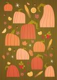 Collection réglée par potirons d'Autumn Concept Vegetables And Fruits de récolte Images stock