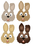 Collection rabbit heads Royalty Free Stock Images
