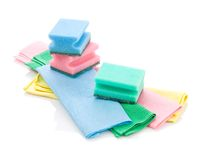 Collection of rags and sponges. Isolated on white Royalty Free Stock Images