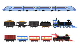 Collection of railway locomotives, passengers wagons and speed trains Stock Photos