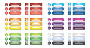 A collection of rainbow blank web buttons Stock Images