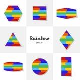 Collection Rainbow cards Stock Photos