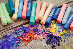 Collection of rainbow colored pastel crayons. Royalty Free Stock Photo