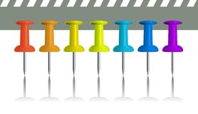Collection of rainbow colour writing pins Royalty Free Stock Images