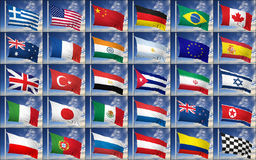 Collection of random flags Royalty Free Stock Photo