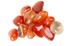 Collection rayée orange polie d'agate image stock