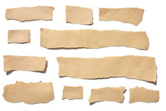 Collection real brown paper torn or ripped pieces of paper in white background Royalty Free Stock Images
