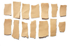 Collection real brown paper torn or ripped pieces of paper in white background Royalty Free Stock Photography