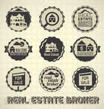 Real Estate Broker Labels and Icons. Collection of real estate broker labels and icons Royalty Free Stock Photo