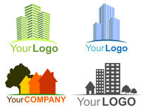 Collection of real estate logos. Set of real estate logos and icons Royalty Free Stock Images