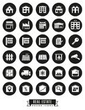 Real estate round black icons. Collection of real estate round black icons on white background Stock Images