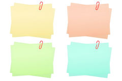 Collection of real note papers with paper clip on Royalty Free Stock Image