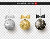 Collection of realistic beautiful shiny Christmas balls with bow on transparent background. New Year decoration. Vector Xmas tree decoration vector illustration