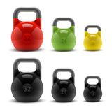 Collection of realistic classic kettlebells  on white background. Fitness symbol. Royalty Free Stock Image