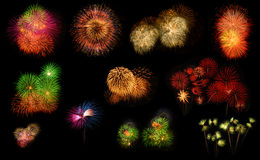 Collection of realistic colorful fireworks Royalty Free Stock Image