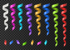 Collection of realistic colorful ribbons serpentine and con. Collection of realistic 3d colorful ribbons serpentine and confetti on transparent background royalty free illustration