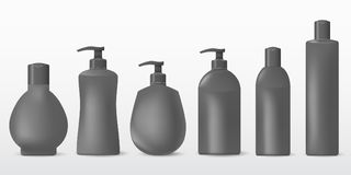 Collection of realistic cosmetic plastic bottles on a white background.Cosmetic brand pattern. Design Beauty Products. Vector illustration Stock Photography