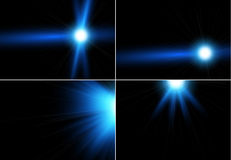 Collection of realistic light glare, highlight. Collection of beautiful bright lens flares Stock Image