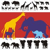African Animals Silhouettes. Collection of realistic silhouettes of a group of african wild animals as rhinoceros, impalas, girafes, elephant cubs and adult Royalty Free Stock Photos