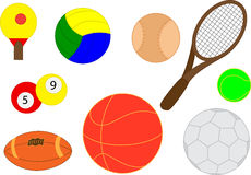 Collection of realistic sports balls Royalty Free Stock Photo
