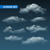 Collection of realistic transparent night clouds. Vector illustration vector illustration