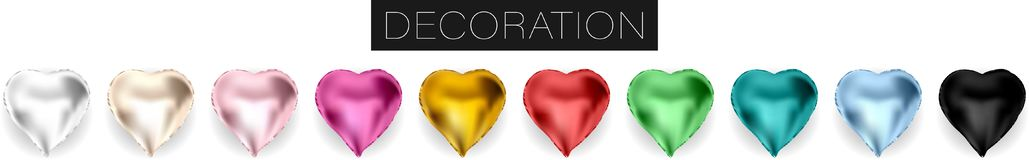 Collection of realistic vector foil helium heart shaped balloons isolated on white background stock illustration